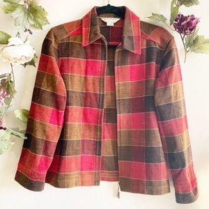 Allison Daley Red Plaid Zip Up Chore Jacket